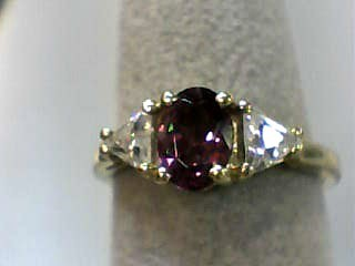 Synthetic Cubic Zirconia Lady's Stone Ring 10K Yellow Gold 1.5dwt Size:6
