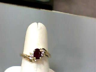 Ruby Lady's Stone & Diamond Ring 2 Diamonds .14 Carat T.W. 14K Yellow Gold