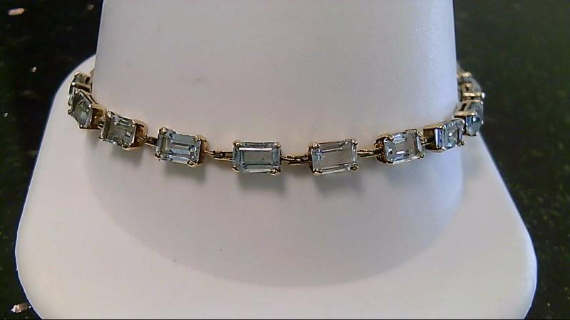 Synthetic Aquamarine Gold-Stone Bracelet 14K Yellow Gold 6.2g