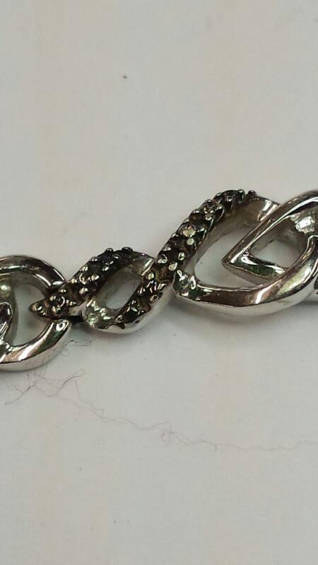 Silver Bracelet DIAMONDS 925 Silver 8.14dwt