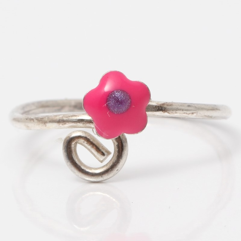 Sterling Silver Pink Flower Ring Size 5.5 *Stretches to larger sizes