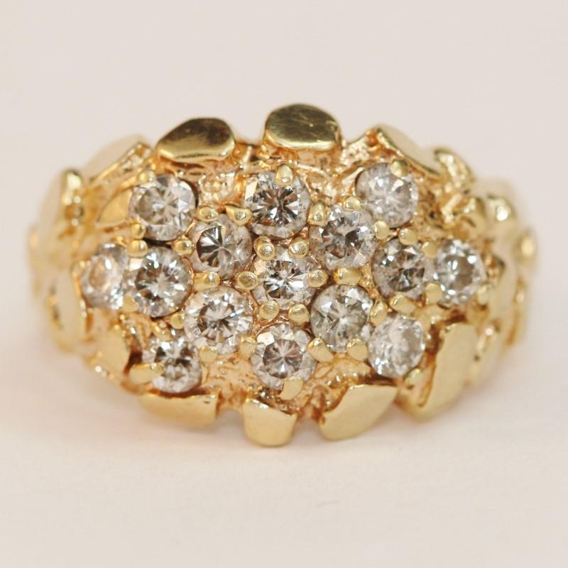 14K Nugget/Round Brilliant Diamond Ring Size 8.25