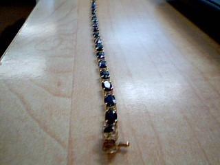 Blue Stone Gold-Stone Bracelet 10K Yellow Gold 4.8g