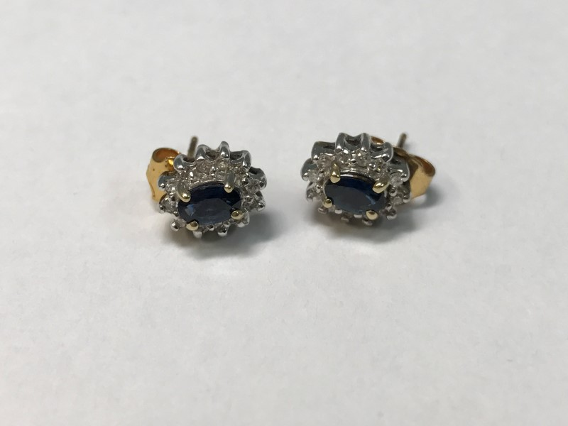 Sapphire Gold-Diamond & Stone Earrings 24 Diamonds .24 Carat T.W.