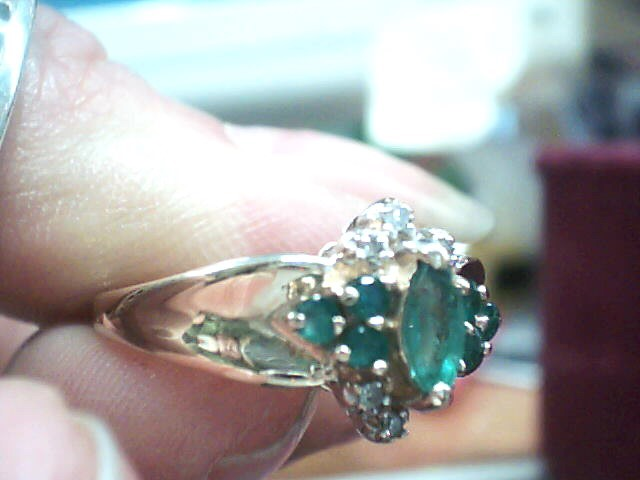 Synthetic Emerald Lady's Stone & Diamond Ring 6 Diamonds .030 Carat T.W.
