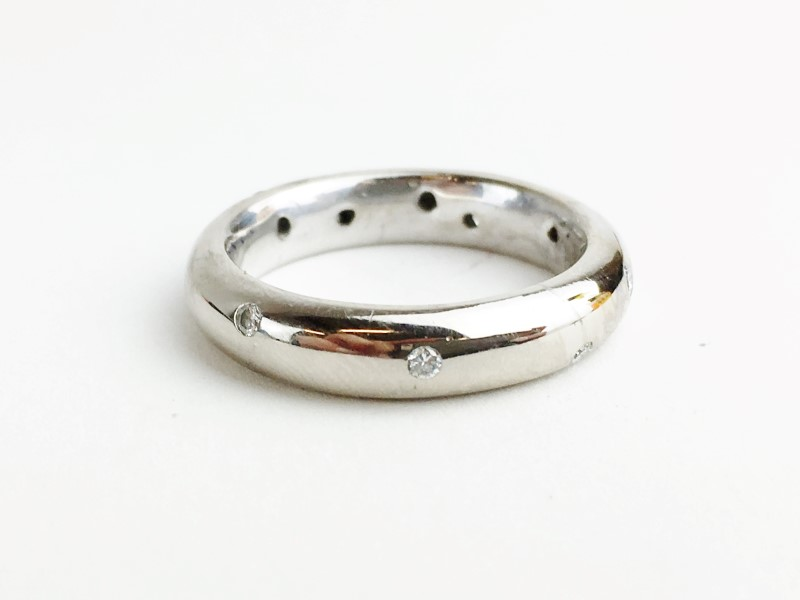 Diamond Wedding Band 10 Diamonds .20 Carat T.W. 18K White Gold 9.53g