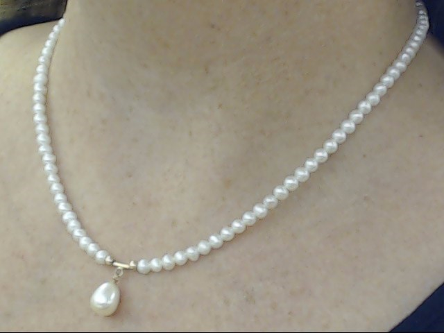 """ESTATE WHITE PEARL DROP CHOKER NECKLACE REAL 14K YELLOW GOLD 17"""""""