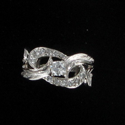 Lady's Diamond Fashion Ring 13 Diamonds .51 Carat T.W. 14K White Gold 2.8dwt