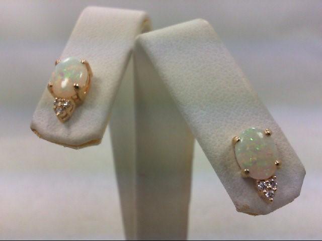 Opal Gold-Diamond & Stone Earrings 6 Diamonds .06 Carat T.W. 14K Yellow Gold