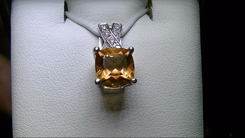 LADY'S 18K WHITE GOLD CUSHION CUT CITRINE /DIAMOND PENDANT