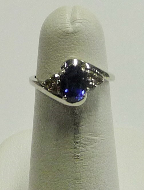 Synthetic Sapphire Lady's Stone & Diamond Ring 6 Diamonds .06 Carat T.W.
