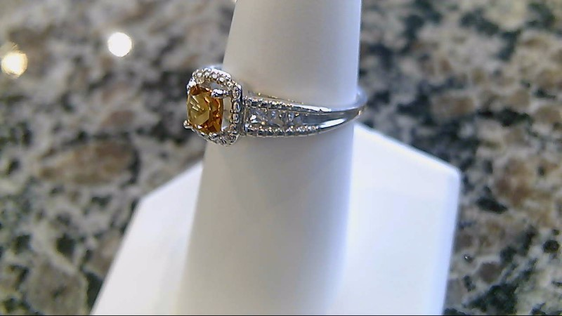 Yellow Stone Lady's Silver & Stone Ring 925 Silver 2.1g Size:7