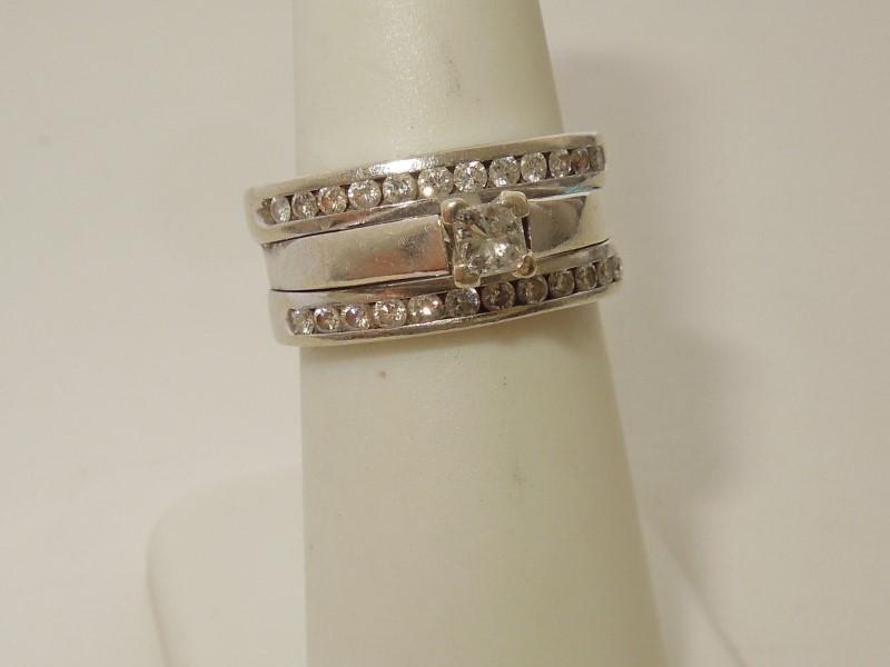 Lady's Diamond Wedding Set 25 Diamonds .68 Carat T.W. 14K White Gold 9.1g