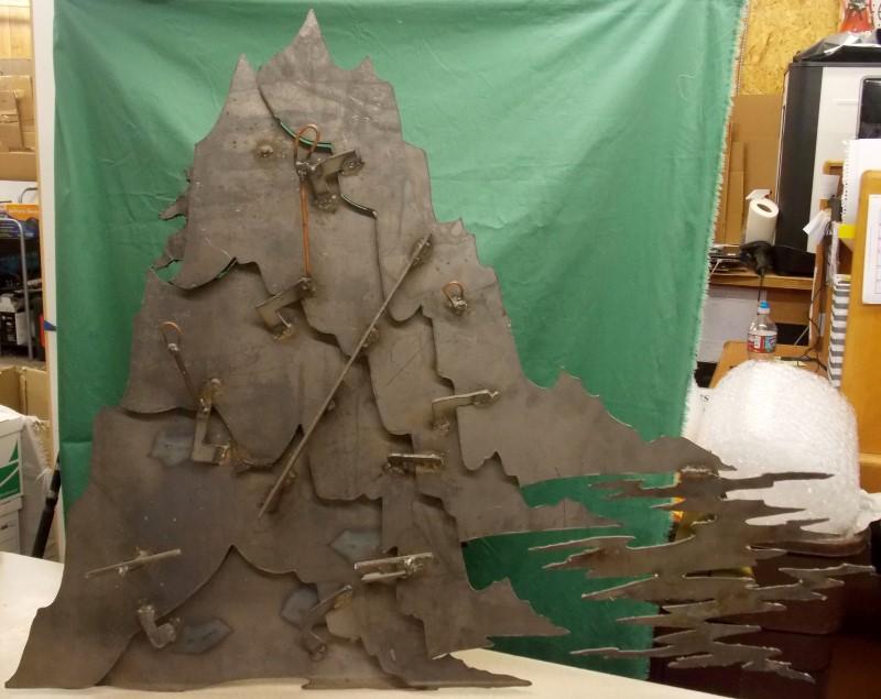 X-LARGE ROSS BENDIXEN 2 PIECE METAL SCULPTURE OF MOUNTAINS, TREES, & WATERFALL