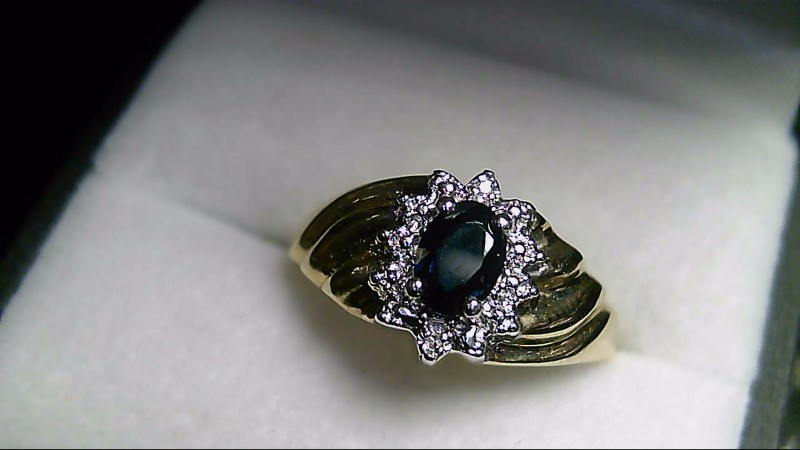 Oval Sapphire Lady's Stone & Diamond 10K Yellow Gold Ring