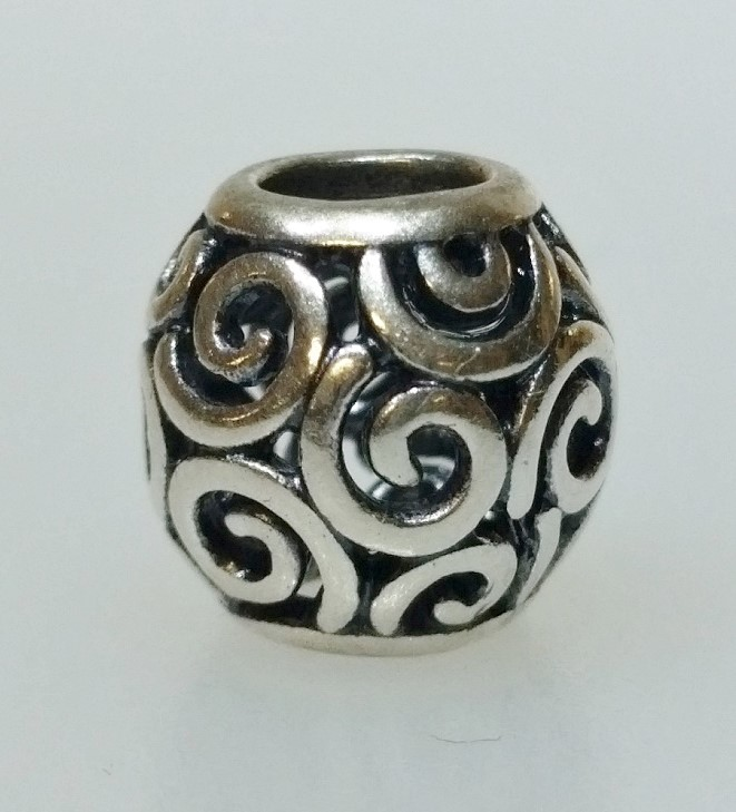 "Authentic Pandora 925 ALE Silver ""Ocean Breeze"" Swirl European Bead Charm 790896"