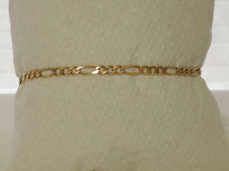 Gold Figaro Bracelet 14K Yellow Gold 3.1g