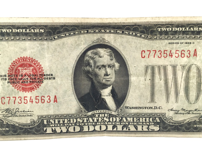 1928 D Red Seal $2 Two Dollar Bill - Nice Note -