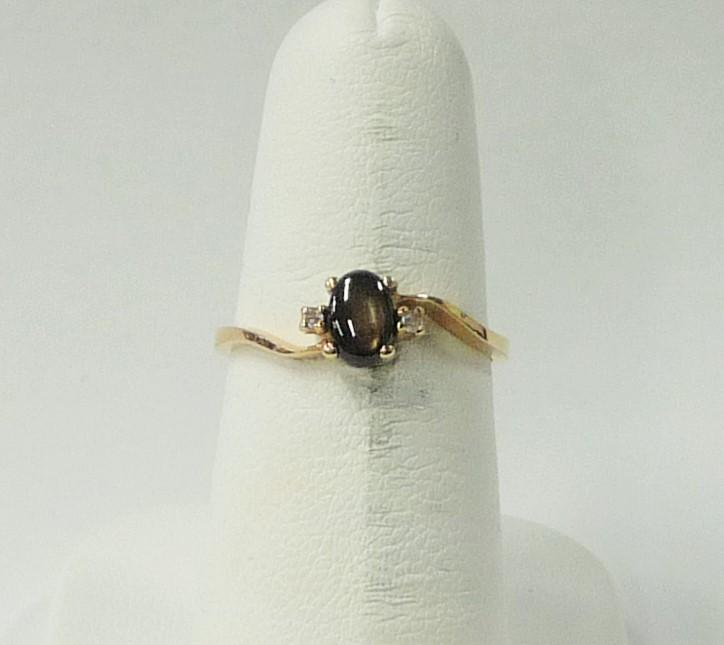 Smoky Quartz Lady's Stone & Diamond Ring 2 Diamonds .06 Carat T.W.