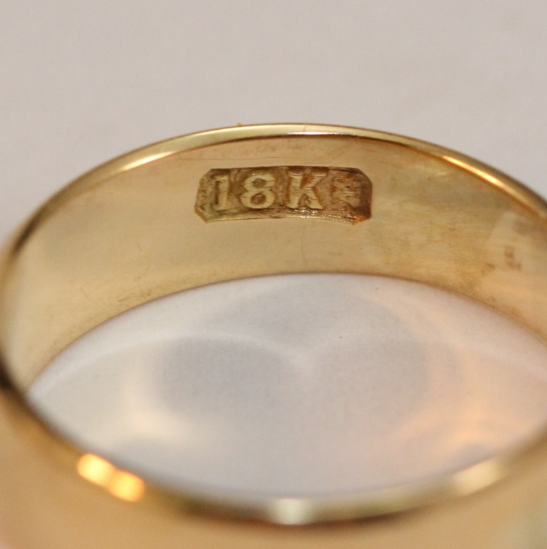 Gent's Gold Ring 18K Yellow Gold 5.2g Size:8