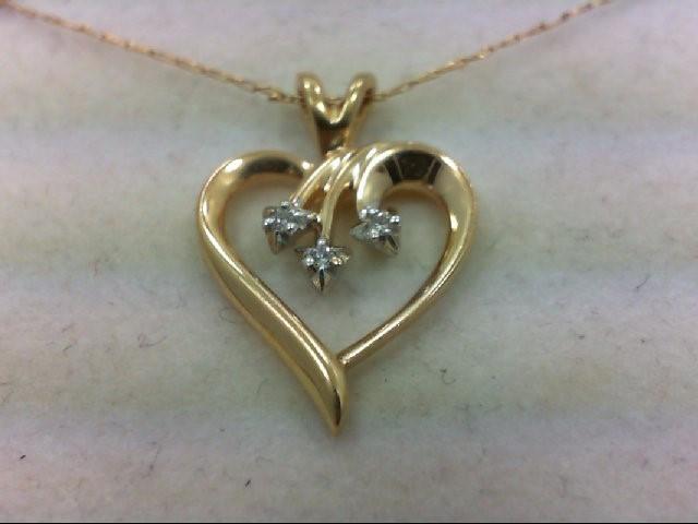 Gold-Multi-Diamond Pendant 3 Diamonds .015 Carat T.W. 14K Yellow Gold 2g