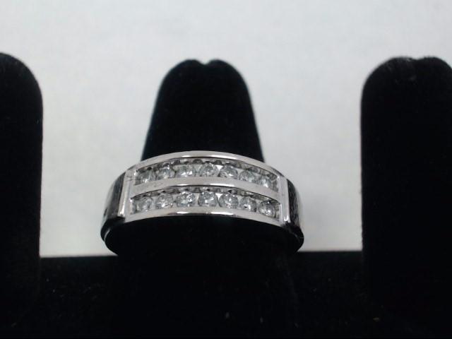 Gent's Gold-Diamond Wedding Band 14 Diamonds .70 Carat T.W. 10K White Gold 6.6g