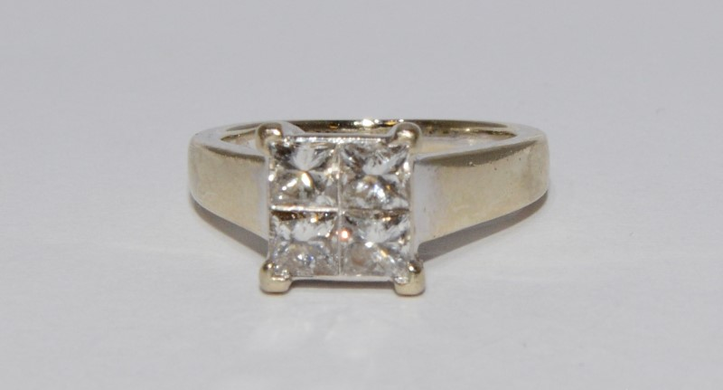 14K White Gold Cathedral Set 4 Princess Cut Diamond Cluster Engagement Ring 5.5