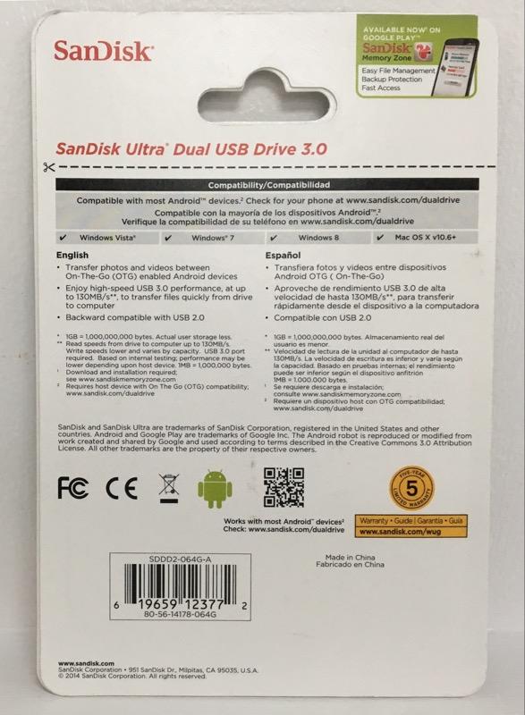 SANDISK  DUAL USB DRIVE 64GB USB 3.0