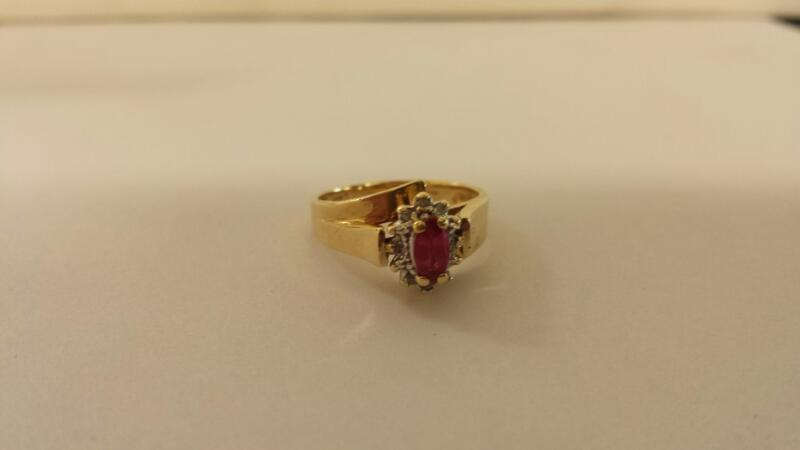 Lds 10K-Y/G Red Stone 8-Round Diamond