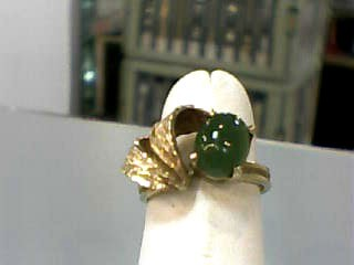 Jade Lady's Stone Ring 10K Yellow Gold 2.3dwt Size:5.7