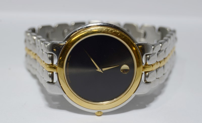 Men's Movado Two Tone Black Museum Dial St. Steel Watch 81.A2.873.1