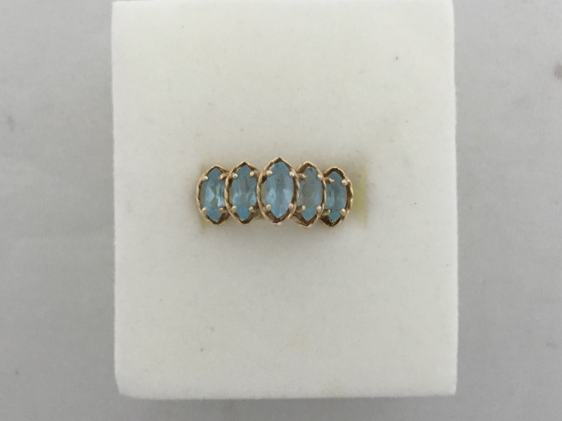 Synthetic Blue Topaz Lady's Stone Ring 10K Yellow Gold 3g