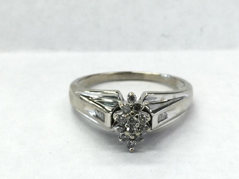 Lady's Diamond Engagement Ring 17 Diamonds .28 Carat T.W. 10K White Gold 2.2dwt
