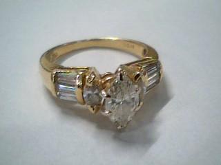 Lady's Diamond Engagement Ring 9 Diamonds 1.43 Carat T.W. 14K Yellow Gold 4.9g