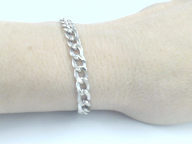 "VINTAGE CURB LINK BRACELET SOLID 14K WHITE GOLD ITALY CUBAN 8"" LONG"