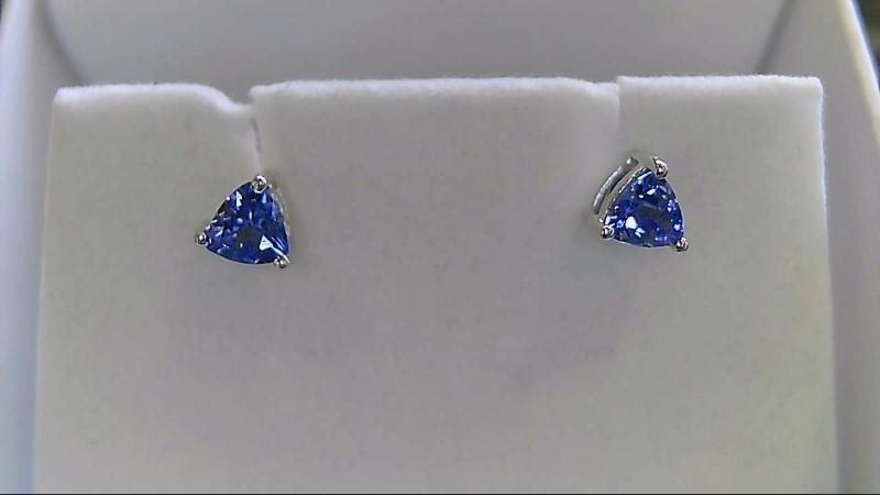 Genuine Tanzanite Gold Stone Earrings 14K White Gold 0.7g