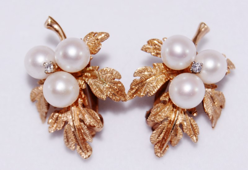 14K Yellow Gold Pearl Cluster & Diamond Textured Leaves Leverback Earrings