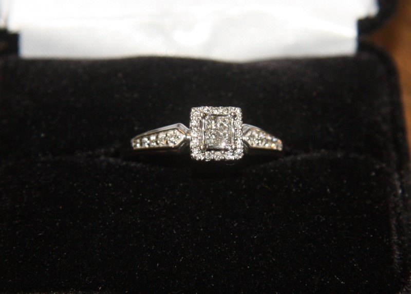 Lady's Diamond Cluster Ring 10 Diamonds .66 Carat T.W. 10K White Gold 1.5dwt