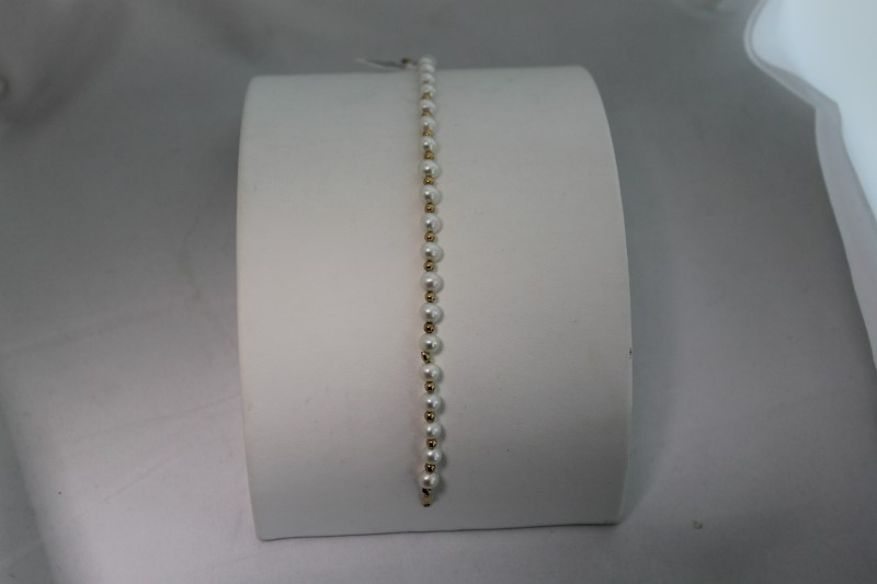 Cultured White Pearl Yellow Gold Bead Bracelet YG