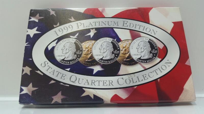 1999 Platinum Edition State Quarter Collection DE, PA, NJ, GA, CT