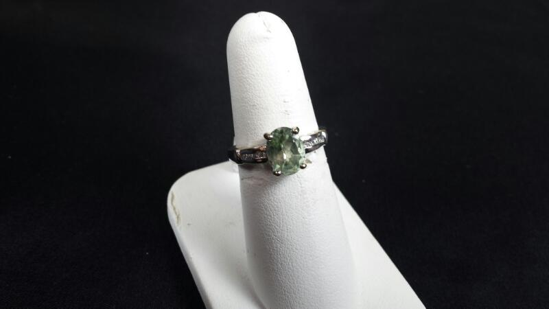 Synthetic Morganite Lady's Silver & Stone Ring 925 Silver 3.2g Size:7