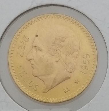 1959 M Mexican Diez (10) Peso Gold Coin