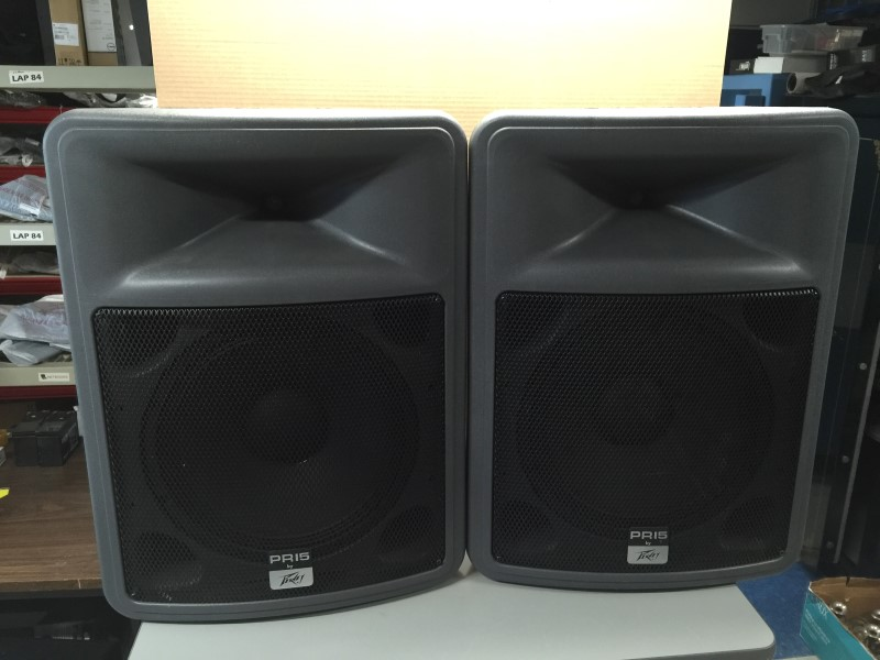 "PAIR PEAVEY PR-15 15"" 2-Way Portable PA Speakers w/Stands"