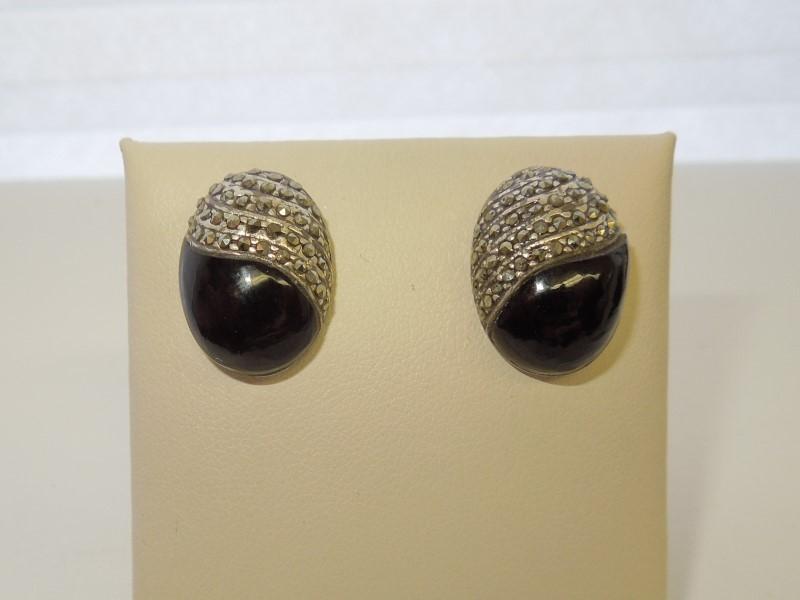 Black Stone Silver-Stone Earrings 925 Silver 9.7g