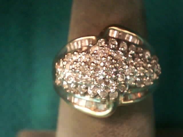 Lady's Diamond Cluster Ring 79 Diamonds .545 Carat T.W. 10K Yellow Gold 3.4dwt