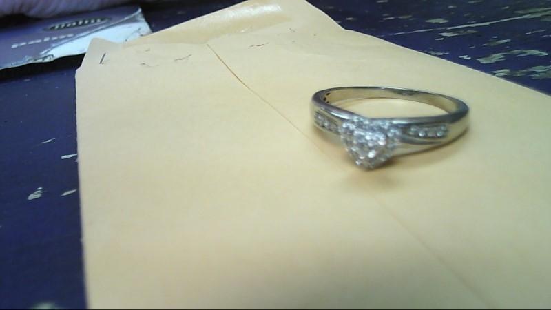 Lady's Diamond Cluster Ring 23 Diamonds .23 Carat T.W. 14K White Gold 3.3g