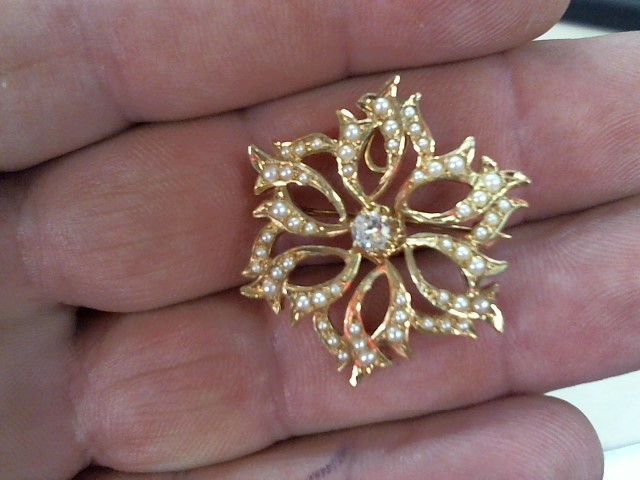 Synthetic Pearl Gold-Diamond-Stone Brooch .10 CT. 10K Yellow Gold 5.4g