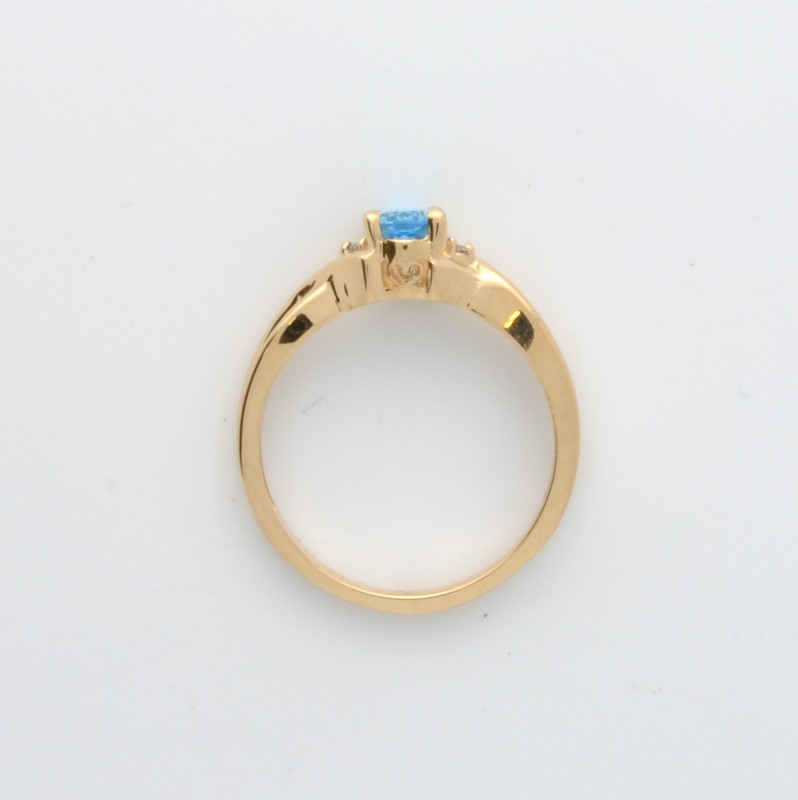 ESTATE DIAMOND BLUE TOPAZ RING SOLID 14K GOLD OVAL CUT FINE SIZE 6.5