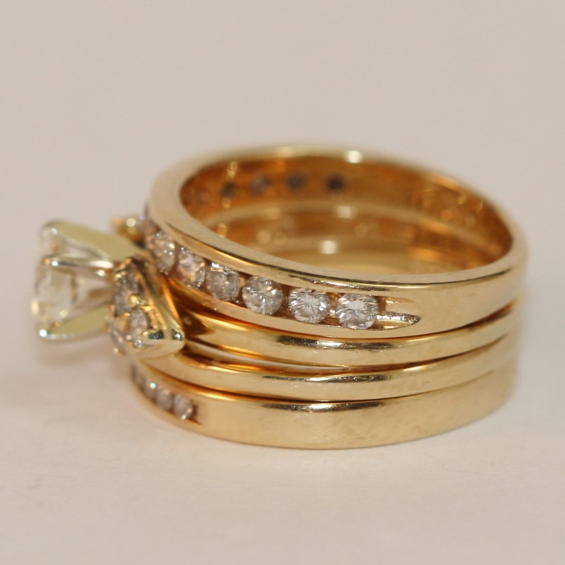 14K Yellow Gold 3 Ring Round Brilliant Diamond Wedding Set Size 5.75