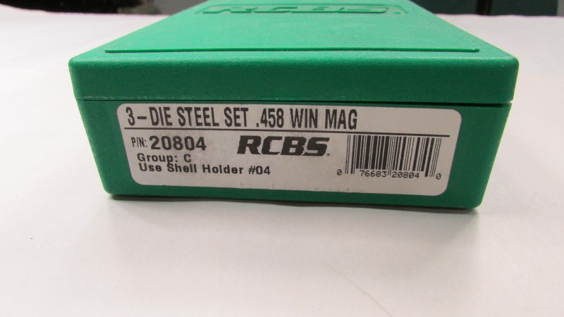 3 DIE STEEL SET .458 WIN MAG
